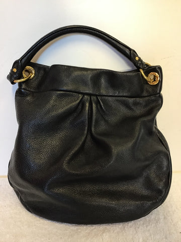 MARC JACOBS BLACK LEATHER TOP HANDLE SHOPPER BAG