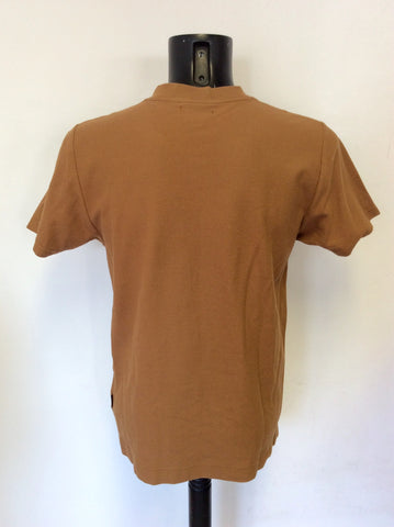 MULBERRY TAN COTTON V NECK SHORT SLEEVE TOP SIZE XS
