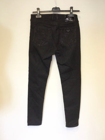 ARMANI JEANS BLACK SKINNY LEG JEANS SIZE 26 FIT UK 10