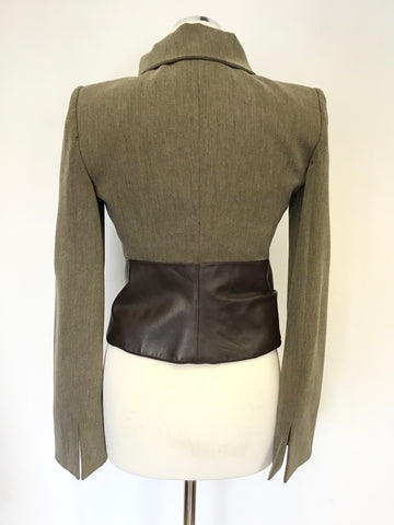 ARMANI COLLEZIONI BROWN WOOL BLEND WITH LEATHER TRIM JACKET & TROUSER SUIT SIZE 40 UK 8