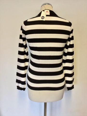 BRAND NEW BODEN BLACK & WHITE STRIPE BEADED TRIM CARDIGAN SIZE 10
