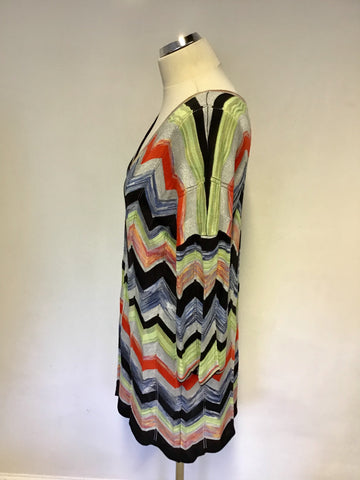 BRAND NEW OUI MULTI COLOURED PRINT ZIG ZAG DESIGN FINE KNIT JUMPER SIZE 12