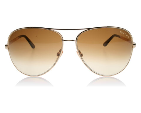 TOM FORD UNISEX CHARLES GOLD RIMMED SUNGLASSES IN CASE