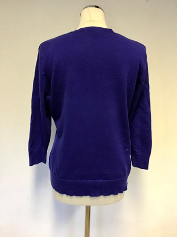 JAEGER BLUE V NECK WOOL BLEND JUMPER SIZE 14