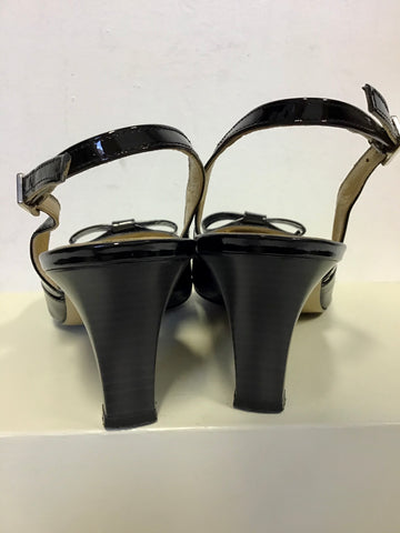 PETER KAISER BLACK PATENT LEATHER SLINGBACK HEELS SIZE 5.5/38.5