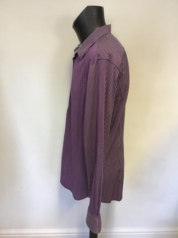 TED BAKER PURPLE,BLACK & GREY STRIPE SHIRT SIZE 6 UK L