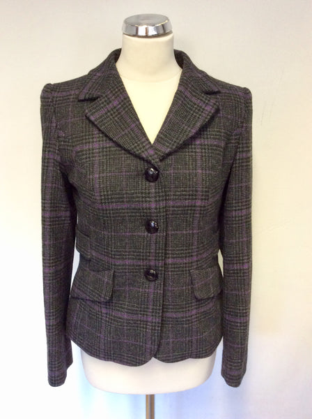 HOBBS GREY,PURPLE & BLACK CHECK WOOL JACKET SIZE 10