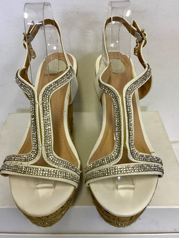 LAURA BIAGIOTTI WHITE DIAMANTÉ TRIM WEDGE HEEL SANDALS SIZE 7/40