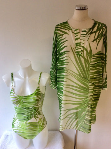 LENNY NIEMEYER GREEN & WHITE PRINT SWIMSUIT & COVER UP SIZE P/S