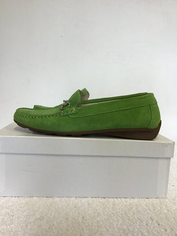BRAND NEW VANILLA MOON SIAN LIME GREEN SUEDE FLAT LOAFERS SIZE 4/37