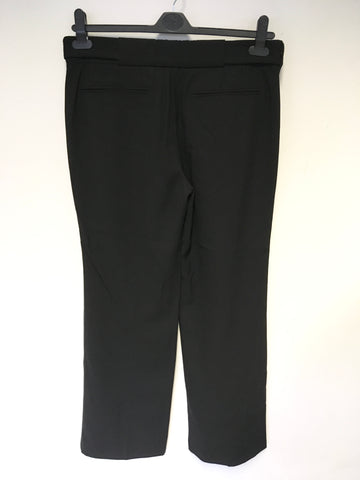 ALL SAINTS BLACK WOOL SATIN TRIM VORDANA CIGARETTE PANT TROUSERS SIZE 12
