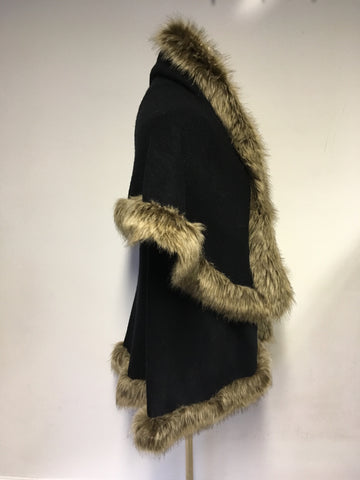 BLACK KNIT WITH FAUX FUR TRIM WRAP/ CAPE ONE SIZE