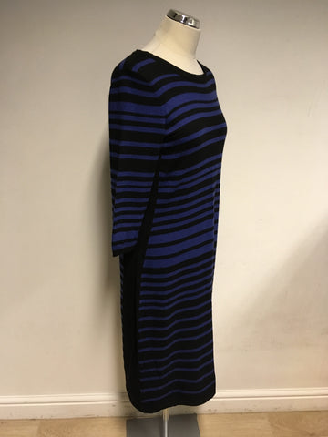 JAEGER BLUE & BLACK STRIPE KNIT DRESS SIZE M