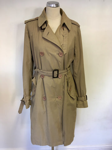 JIGSAW BEIGE COTTON BLEND BELTED KNEE LENGTH TRENCHCOAT / MAC SIZE M