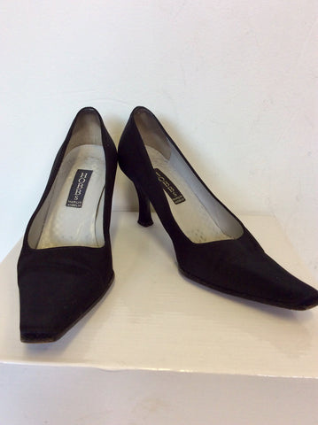 HOBBS BLACK MATT SATIN HEELS SIZE 3.5/36