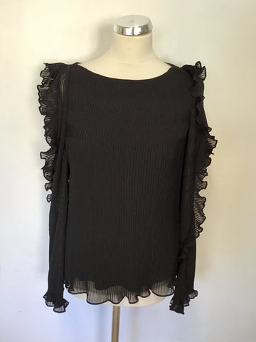 KAREN MILLEN BLACK PLEATED COLD SHOULDER FRILL TRIM LACE UP BACK BLOUSE SIZE 12