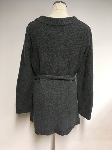 HOBBS DARK GREY TIE BELT WOOL CARDIGAN SIZE XL
