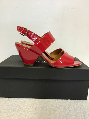 BRAND NEW HOBBS MILLIE CHERRY RED PATENT LEATHER SANDALS SIZE 4/37