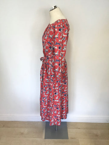 BRAND NEW CATH KIDSTON RED SQUIGGLE DOG PRINT MIDI DRESS SIZE 16