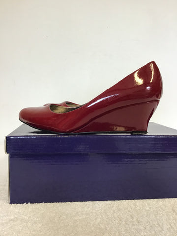 LUNAR DEEP RED PATENT WEDGE HEELS SIZE 4/37
