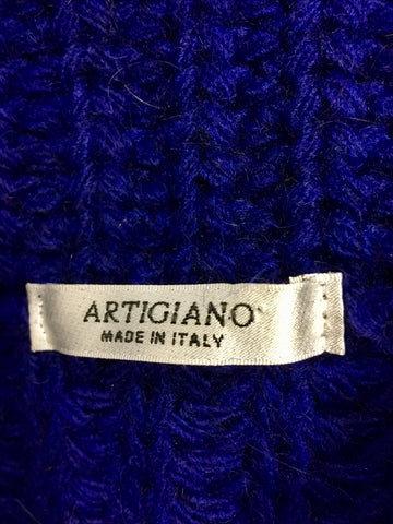 ARTIGIANO BLUE CHUNKY KNIT ROLL NECK JUMPER SIZE L