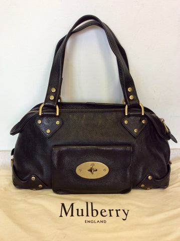 MULBERRY BLACK LEATHER FRONT POSTMAN LOCK POCKET SHOULDER BAG