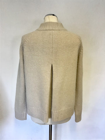 HOBBS LIGHT BEIGE WOOL & ANGORA BLEND CARDIGAN SIZE 16