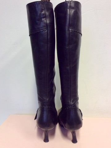 DUO BLACK LEATHER KNEE LENGTH BUCKLE TRIM BOOTS SIZE 5/38