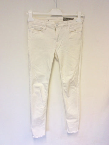ALL SAINTS MAST FRAY OFF WHITE SKINNY LEG JEANS SIZE 29 W