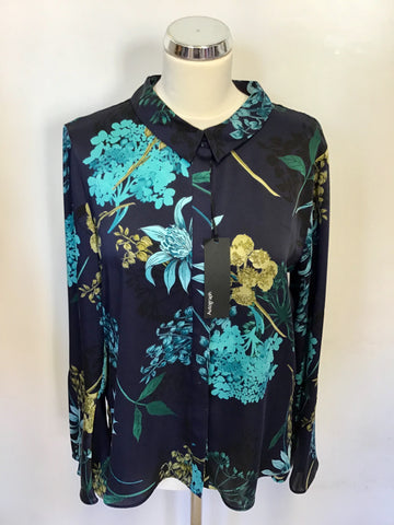 BRAND NEW MARKS & SPENCER AUTOGRAPH NAVY MIX FLORAL PRINT BLOUSE SIZE 10