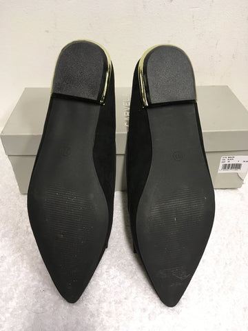 BRAND NEW CARVELA BLACK SUEDETTE BOW TRIM FLATS SIZE 5/38