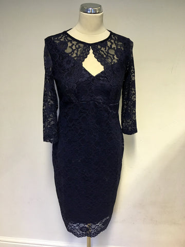 JESSICA WRIGHT NAVY BLUE 3/4 SLEEVE LACE DRESS SIZE 14
