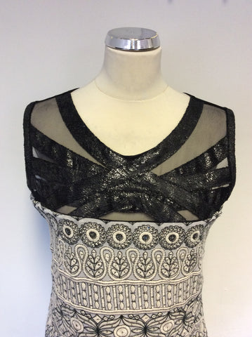 BRAND NEW SAVE THE QUEEN BLACK & CREAM EMBROIDERED SEQUIN TRIM DRESS SIZE XXL