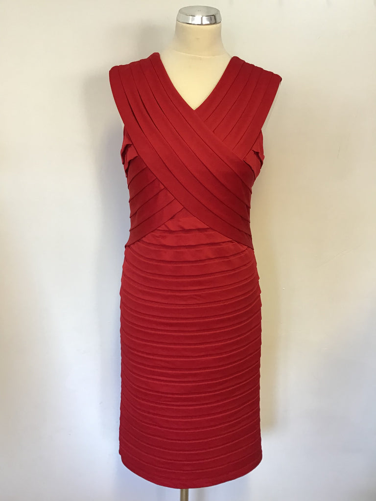 Alexon Red Pleated Stretch Pencil Dress Size 12 Whispers Dress Agency