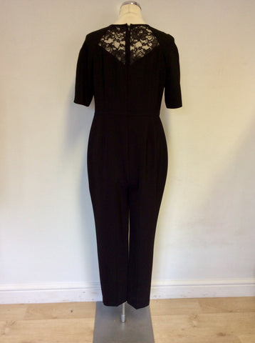 BRAND NEW MARKS & SPENCER BLACK LACE TOP SHORT SLEEVE JUMPSUIT SIZE 14 PETITE