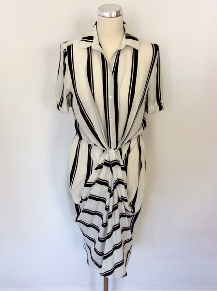 HOBBS BLACK & IVORY SILK STRIPE DRESS SIZE 10