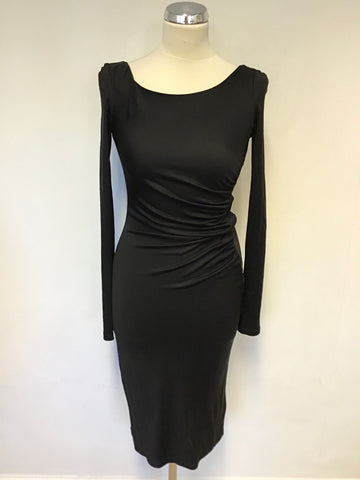 LK BENNETT BLACK SILK STRETCH LONG SLEEVE SPECIAL OCCASION DRESS SIZE 6