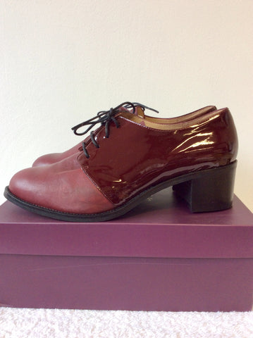 BRAND NEW DUO BURGUNDY PATENT & LEATHER LACE UP HEELS SIZE 8/42