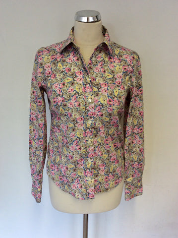 GANT PINK,BEIGE,BLUE & LEMON FLORAL PRINT COTTON SHIRT SIZE 10