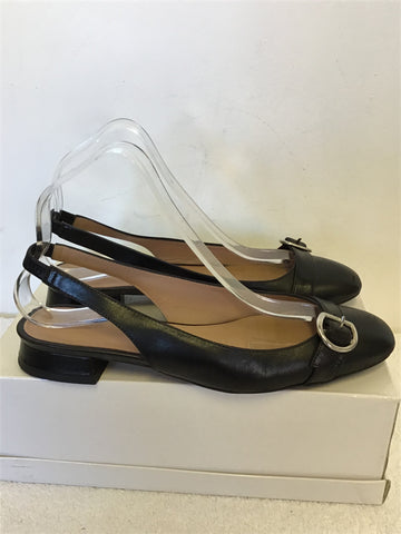 WHISTLES FAIRFAX BLACK LEATHER BUCKLE TRIM SLINGBACK FLATS SIZE 5/38