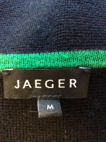JAEGER BLACK WITH FAWN,WHITE & GREEN STRIPE WOOL KNIT DRESS SIZE M