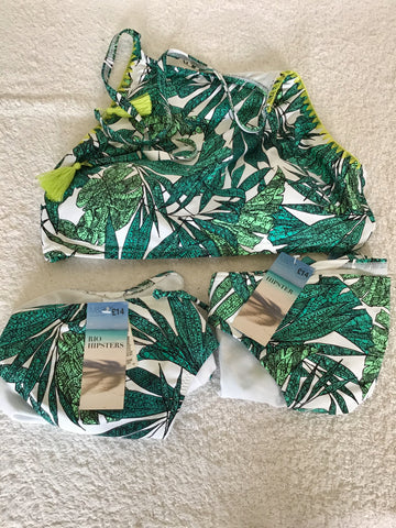 BRAND NEW MARKS & SPENCER GREEN & WHITE PRINT BIKINI TOP & 2 SETS OF BOTTOMS SIZE 14/16