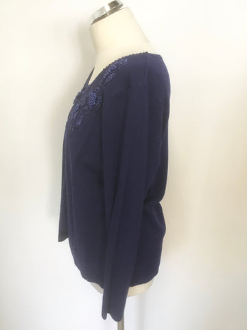 COTSWOLD COLLECTION ROYAL BLUE BEADED TRIM JUMPER WITH BUILT IN CARDIGAN SIZE M