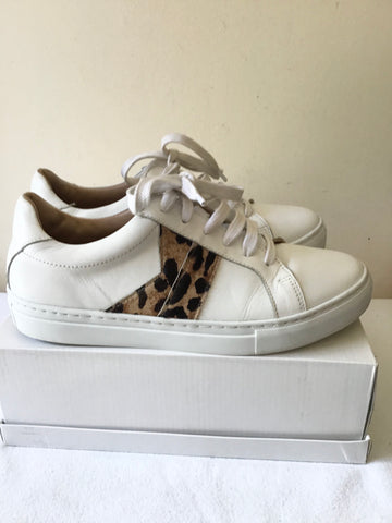 LK BENNETT ALIVIA WHITE LEATHER LEOPARD PRINT TRIM TRAINERS SIZE 7/40