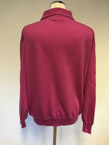 THE CASHMERE CENTRE PINK 100% CASHMERE COLLARED V NECKLINE JUMPER SIZE XXL