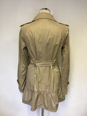 JUICY COUTURE BEIGE COTTON  BELTED TRENCH COAT/ MAC  SIZE S