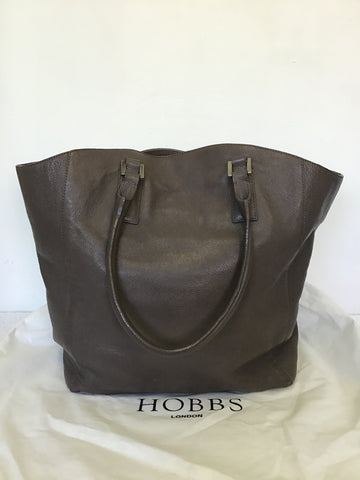 HOBBS BROWN LEATHER LARGE SHOULDER BAG
