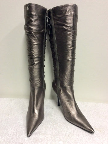 BRAND NEW MODA IN PELLE BRONZE LEATHER KNEE LENGTH BOOTS SIZE 7/40