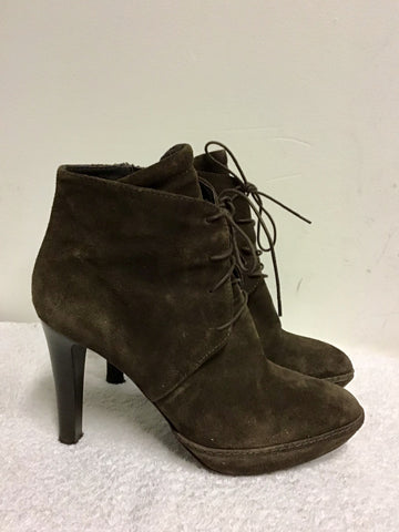 SISLEY BROWN SUEDE LACE UP ANKLE BOOTS SIZE 7/40