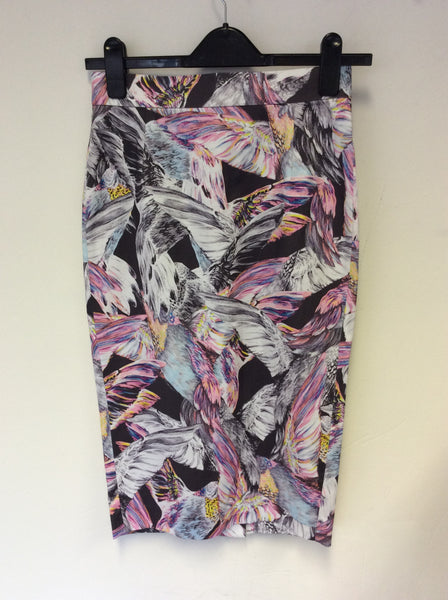 BRAND NEW FRENCH CONNECTION MULTI COLOURED PRINT PENCIL SKIRT SIZE 8